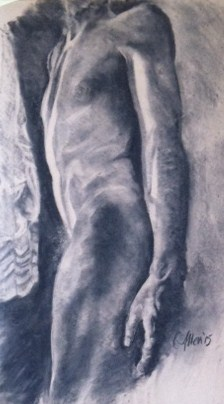 Beloved by window - charcoal