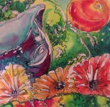 'Little Blue Jug with Flower' SOLD
