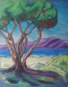 'Pohutukawa and Kapiti Island' Pastel on Paper - SOLD