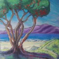 'Pohutukawa and Kapiti Island' Pastel on Paper - SOLD