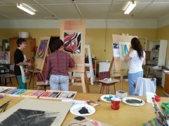 Building Creative Confidence: into acrylic - big brush big work :)