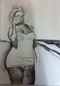 Black watercolor pencil
