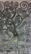 Inspired by Klimt, indian ink on watercolour paper.