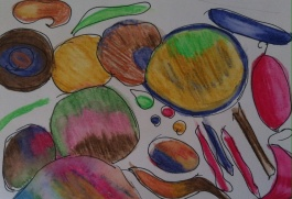 Discover Drawing - abstract in coloured pencil