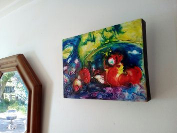 'Little Blue Jug and Apples' Acrylic and Textured Medium on Canvas - SOLD