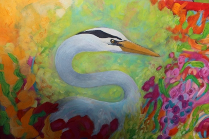 Heron in my Garden - work in progress.