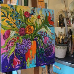 Gill Allen NZ Artist - Orange and Blue Vase