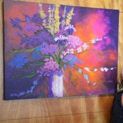 Iris and Hydrangeas - Acrylic on Canvas