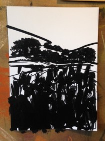 Over the corn field - ink study