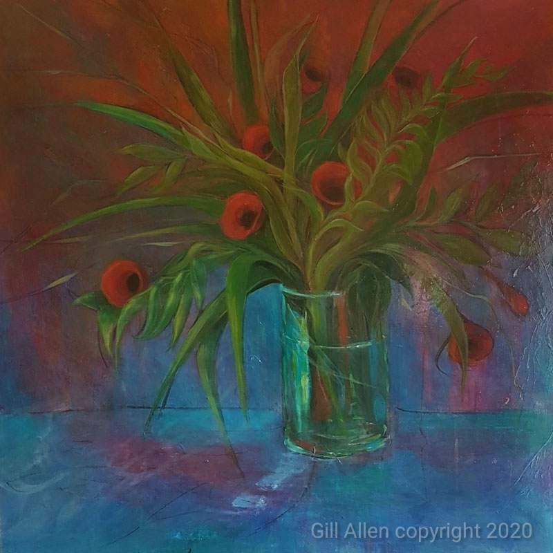 Flax and Poppies. Gill Allen NZ Artist
